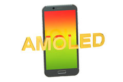 AMOLED concept with smartphone, 3D rendering. On white background Stock Photography