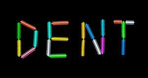 Palavra do DENTE formada por anéis dentais da ortodontia Fotos de Stock