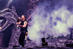 Amon Amarth live in Hellfest 2016. Amon Amarth is a Swedish melodic death metal band from Tumba, formed in 1992. The band takes its name from the Sindarin name Royalty Free Stock Photos