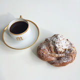 Amond croissant and black coffee Stock Photo