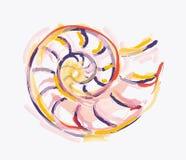 Amonita colorida de la acuarela Imagenes de archivo