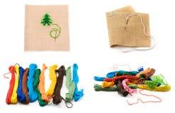 Amorçages de couleur de collage et tissus de bit Photographie stock libre de droits