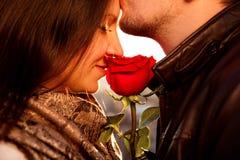 Amorös grabb som kysser försiktigt hans flicka med den röda rosen Arkivbilder