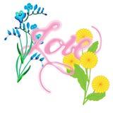 - Amor à mão escrito vetor, cartão Imagem de Stock
