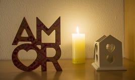 Amor, αγάπη με τη φλόγα και καρδιές Στοκ Εικόνες