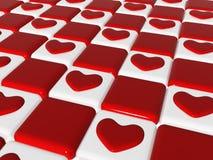 Amor 2, del ajedrez corazones rojos 3d sobre el tablero de ajedrez Fotos de archivo