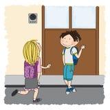 Amor adolescente Estudante nova que encontra sua colega de escola, gir louro ilustração do vetor