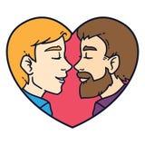 Amor alegre dos pares Esposos homossexuais bonitos isolados em um fundo branco ilustração do vetor