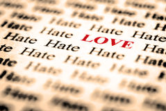 Amor & ódio Fotografia de Stock