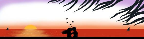 Amor ao por do sol Imagens de Stock