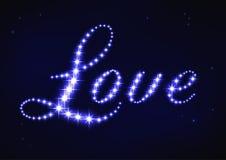 Amor azul estilizado da palavra no estilo da constelação da estrela Fotografia de Stock Royalty Free