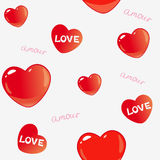 Amor background. Vector seamless background with bright hearts for design Stock Photos