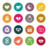 Amor, boda, compromiso y sistema del icono del día de Valentin Fotos de archivo libres de regalías