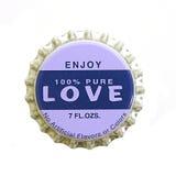 Amor Bottlecap Fotos de Stock Royalty Free