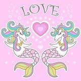 Amor Cavalo marinho do unicórnio com ilustração do vetor do coração Vetor ilustração do vetor