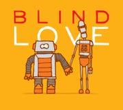 Amor cego entre dois robôs diferentes ilustração stock