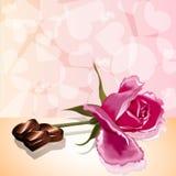 Amor color de rosa del caramelo de la tarjeta del día de tarjetas del día de San Valentín Fotos de archivo libres de regalías