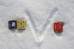 Amor colorido da palavra na neve do inverno Foto de Stock Royalty Free