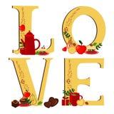 Amor com café e deserto (luz) ilustração royalty free
