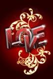Amor com ilustração do projeto da flor do redemoinho Imagens de Stock Royalty Free