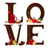 Amor com o café e o deserto (escuros) ilustração royalty free