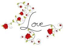 Amor con las flores decorativas de las rosas Imágenes de archivo libres de regalías
