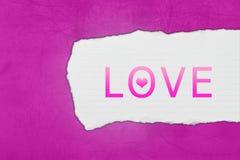 Amor con los rasgones de papel Imagen de archivo libre de regalías