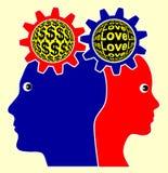 Amor contra el dinero Imágenes de archivo libres de regalías