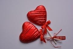 Amor creativo usted, corazones de la piruleta fotografía de archivo