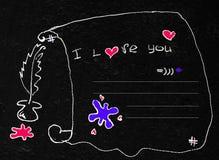 Amor criativo da inscrição, no quadro-negro ilustração do vetor