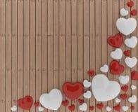 Amor - día del ` s de la tarjeta del día de San Valentín con el corazón rojo y blanco en el piso de madera en el ejemplo 3D Foto de archivo libre de regalías