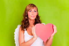 Amor d'ange d'amour avec le coeur Image libre de droits
