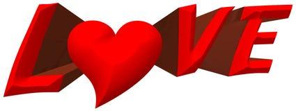 amor 3D vermelho com ilustração do coração Imagem de Stock