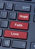 Amor da fé da esperança no teclado de computador Fotografia de Stock