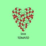 Amor da inscrição Autumn Vegetables esboço dos tomates Coração colocado Imagem de Stock