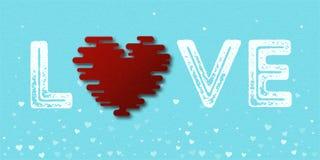 Amor da palavra com cartão do coração Fotografia de Stock