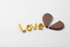 Amor da palavra com chocolate Imagens de Stock