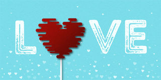 Amor da palavra com o cartão do coração do pirulito Fotografia de Stock