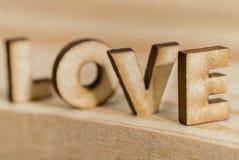 Amor da palavra, madeira Fotos de Stock Royalty Free