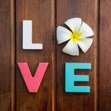 Amor da palavra na tabela de madeira imagem de stock