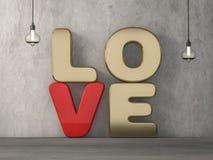Amor da palavra sobre o fundo com reflexão 3d Imagens de Stock