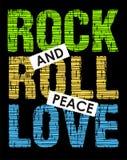 Amor da paz do rock and roll, imagem do vetor Foto de Stock Royalty Free