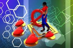 amor das mulheres 3d - pare-o ilustração Imagens de Stock Royalty Free