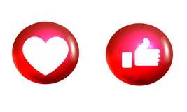 Amor de Facebook y como los iconos coloridos ilustración del vector