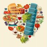 Amor de Italy - forma do coração com ícones do vetor conceito do curso Fotos de Stock