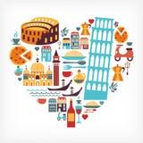 Amor de Italy - forma do coração com ícones do vetor Imagens de Stock