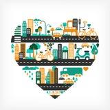 Amor de la ciudad - dimensión de una variable del corazón con muchos iconos stock de ilustración