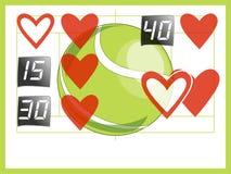 Amor de la cuenta del tenis para hacer juego a la tarjeta del día de San Valentín Fotos de archivo