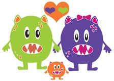Amor de la familia del monstruo Imagen de archivo libre de regalías