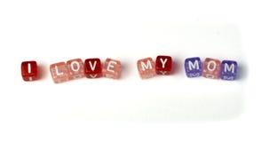 Amor de la frase I mi mamá Foto de archivo libre de regalías